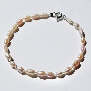 Hand Knotted Rice Pearl Bracelet Freshwater Pearls